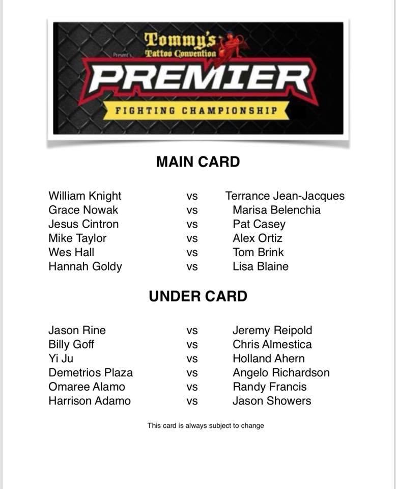 Premier FC fight card
